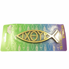 Christian IXOYE Jesus Ichthus fish gold Car auto emblem sticker plaque 14cm