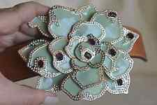 Designer VALENTINO Jeweled Enamel Flower L 36/90 Belt Buckle STRAP Made In Italy