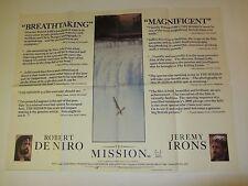 The Mission movie poster - Robert De Niro, Jeremy Irons - original UK quad