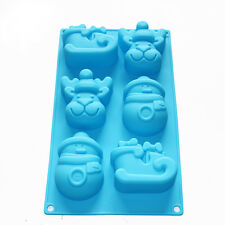 Christmas Holiday Snowman Reindeer Sleigh Soap Cake Chocolate Silicone Mold Pan