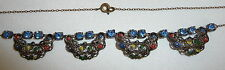 Vintage Signed Czech Art Deco Blue Crystal & Cold Painted Filigree Necklace