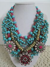NWT Auth Betsey Johnson Boho Betsey Turquoise Bead Medallion Statement Necklace
