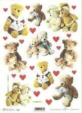 Rice Paper for Decoupage Scrapbooking, Teddy Bear Heart  A4 ITD R464