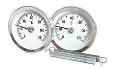 PIPE THERMOMETER (Pair x 2) CLIP ON SPRING ECONOMY TYPE 63mm 0/120C UK SELLER