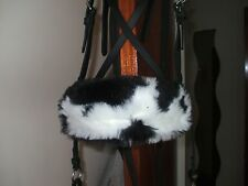 Bitless bridle nose band blk/wte cow print faux fur