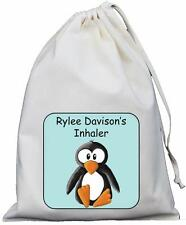 Personalised Penguin - Asthma Inhaler & Spacer bag 25x35cm Drawstring bag EMPTY