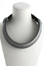 Lanvin Black Ribbon Gunmetal Tone Metal Necklace $590 New 56073