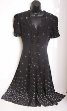 John Rocha Dandelion Floral Ruffle Black Tunic Summer  Dress Size 14 Boho Folk