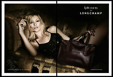 Kate Moss 2-pg clipping 2010 ad for Longchamp - reclining