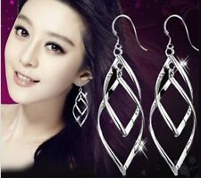 Fashion Women Leaf Shape Silver Tone Drop Geometric Tassel Earrings Gift Box A14