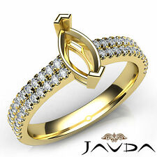 Prong Setting Marquise Diamond Engagement Semi Mount Ring 14k Yellow Gold 0.5Ct