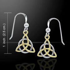 Celtic TRIQUETRA Earrings in .925 Sterling Silver with gold - Irish Trinity Knot