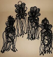 VICTORIAN 4 BLACK JET BEADED FRINGE DRESS TRIM  PIECES CA 1890-1900'S AS IS