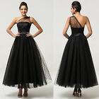 Vintage Long Formal Tulle Evening Party Bridesmaid Prom Dress Wedding Gown Dress