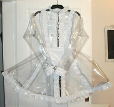 MISFITZ TRANSPARENT / WHITE PVC PEEKABOO PADLOCK RESTRAINT MAIDS DRESS SIZE 18