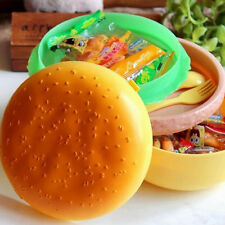 Children Hamburger Bento Lunch Box Food Container Storage with Spoon Fork HX