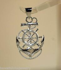 20.5mm Solid Sterling Silver Hawaiian Scroll Anchor of Hope Ship's Wheel Pendant