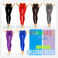 PLUS SIZE SEAMLESS BASIC LEGGINGS DIFFERENT COLORS ONE SIZE SSP9001