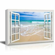 "Canvas Print - Window Frame Style Wall Decor - Beach and Clear Wave - 24"" x 36"""