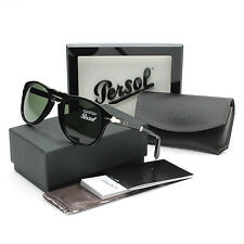 Persol 714 Folding Sunglasses 95/31 Black / Grey Green Crystal Lens PO0714 52 mm