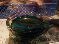 MURANO ? GREEN GLASS SWAN WITH CLEAR GLASS NECK AND FACE BON BON /SWEET DISH