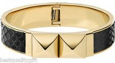 NEW MICHAEL KORS GOLD+BLACK PYTHON LEATHER+PYRAMID STUD BANGLE BRACELET MKJ2889