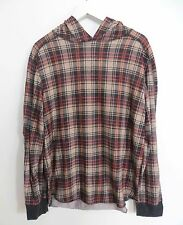 Urban Outfitters men's size MEDIUM plaid check print hooded shirt long sleeve