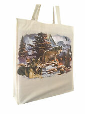 Wolf Wolves Scene Cotton Shopping Bag Tote Gusset & Long Handles Perfect Gift