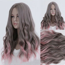Gray With Pink Curly Wave Hair Full Long Wigs Cosplay Lolita Weave Lace Cap Wig