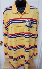 Ed Hardy Men's Yellow/Blue/Red Striped w/ Leopard Face Polo Shirt Size L