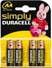 4 x SIMPLY DURACELL AA MN1500 LR6 Batteries 1.5V ALKALINE 1 PACK 4