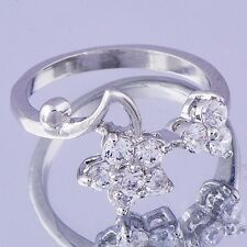 Nice Jewelry Women's Ring 18k White Gold Filled Clear CZ Flower Size 9 Gifts