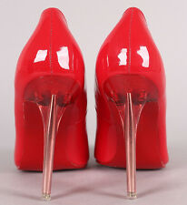 High Heel Pointed Toe 4.25 in Clear Stiletto Women's Red Shoe US11