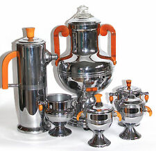 Keystonwear Art Deco Coffee Percolator 6 pc Set Chrome Butterscotch Bakelite