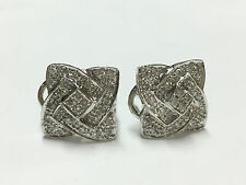 14K White Gold Square Diamond Stud Cluster Earrings 0.50 TCW - 4.8 Grams