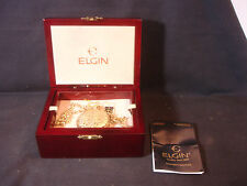 Elgin Pocket Watch Decorative Gold Tone Cover With Wood Box Paperwork