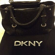 DKNY Authentic Donna Karan Signature Logo Handbag Purse Canvas & Leather Trim