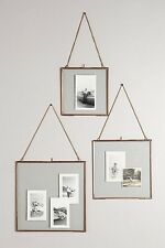 Modern Brass Hanging Glass Float Photo Frames - 7x5 Hangs Portrait