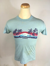 Vintage 70s 80s Hawaii Big Wave Surf Palm Tree T Shirt Paper Thin Small USA