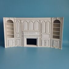 1:12 Dollhouse Miniature Furniture Handcrafted Double Bookcase Fireplace White