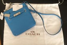 Coach Swagger Swingpack Messanger Crossbody Metallic 36502 Azure Blue NWT