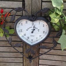 Outdoor Colonial Metal Heart Shaped Wall clock with Leaf and Rose Detailing