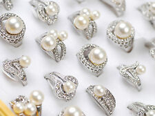 New Lots 8pcs Womens Vintage Assorted Rhinestone Pearls Wedding Party Prom Rings
