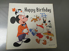 1960's Mickey Mouse Happy Birthday Record Card 6x6 Flexi w/ Envelope FN