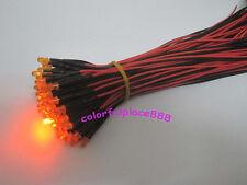 10pcs, 3mm Orange Diffused 5V 6V 7V DC Bright Pre-Wired LED Leds Light 20CM