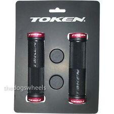 Token Gel Mountain Bike Bicycle MTB Handlebar Grips Lock-on Red / Black