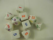 DUNGEONS & DRAGONS D&D Dice Set White w/ Varied Colored #s Roleplaying 10 Dice