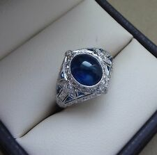 LOVELY ANTIQUE 18K YELLOW GOLD OVAL SAPPHIRE CABOCHON & DIAMOND FILIGREE RING