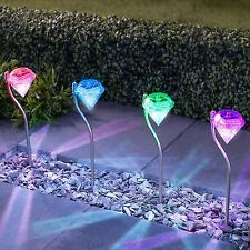 COLOUR CHANGING SOLAR DIAMOND GARDEN STAKE LIGHTS OUTDOOR RECHARGEABLE LAMPS X4