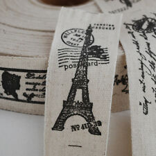 Retro Linen Fabric Ribbon Sewing Label - French Paris Eiffel Tower Airmail